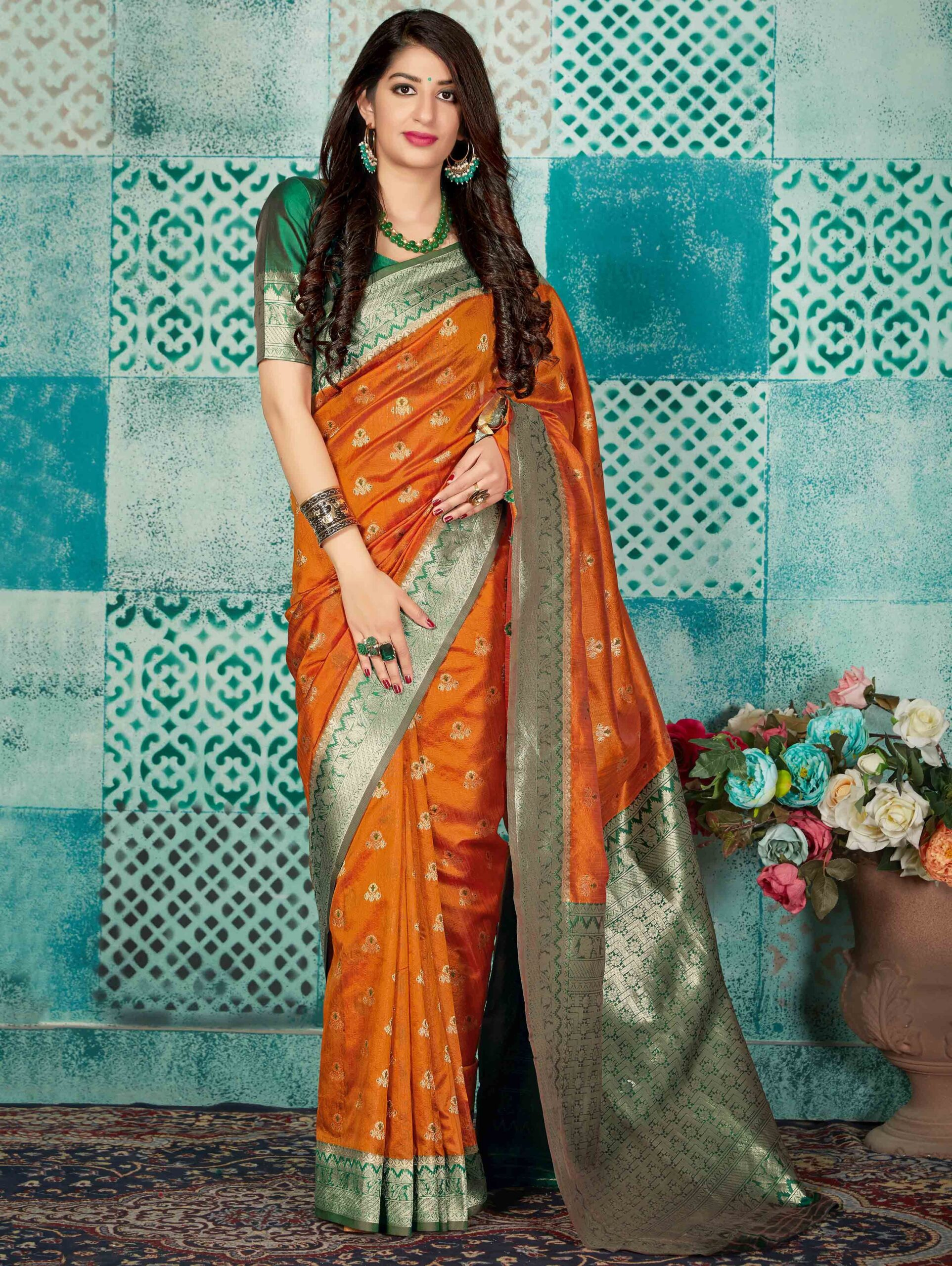 Bright Orange Banarasi Silk Woven Saree with Green Border and Pallu