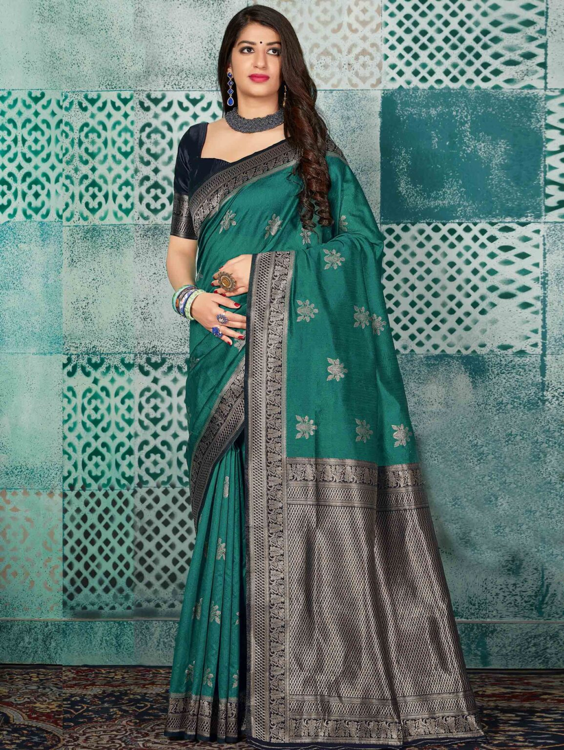 Bottle Green Banarasi Silk Saree with Woven Butta and Floral Border