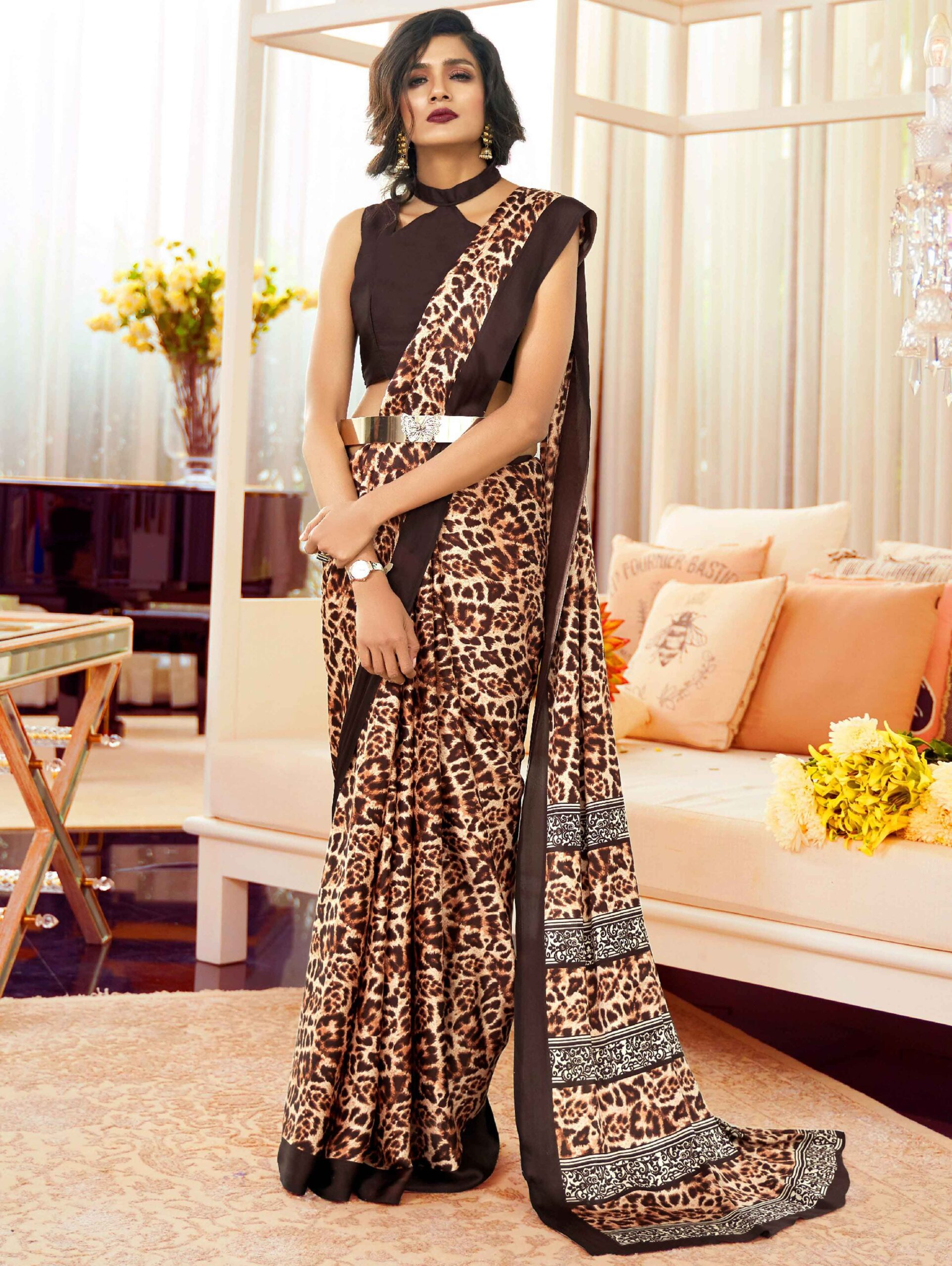 Cream and Brown Satin Crepe Printed Saree