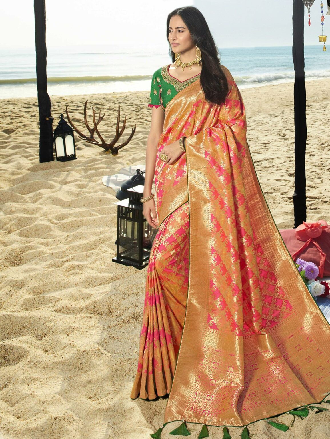 Pink and Peach Banarasi Silk All Over Woven Saree with Golden Border and Pallu