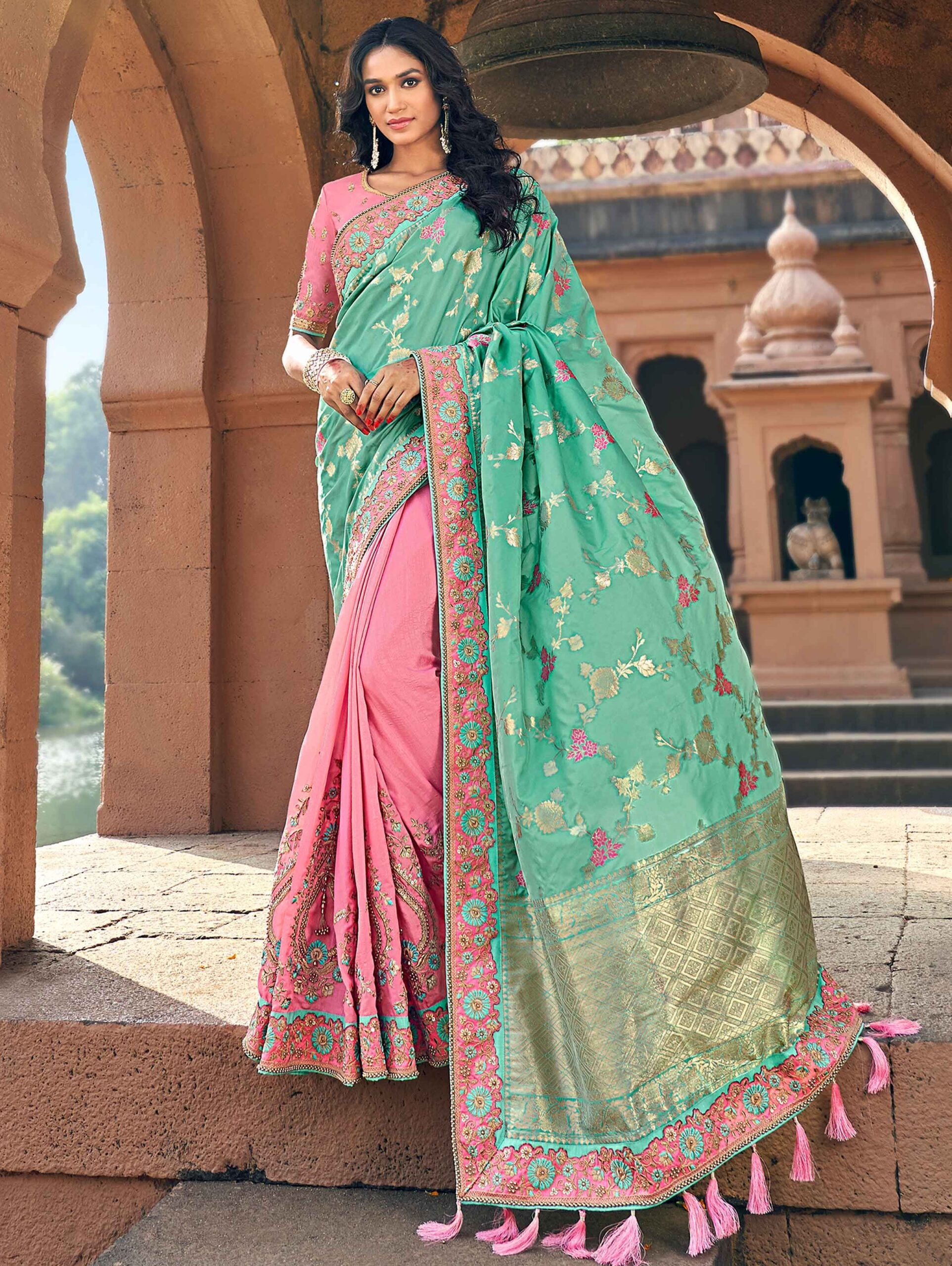 Mint Green and Pink Banarasi Silk Embroidered Saree with Floral Jaal Woven Pallu
