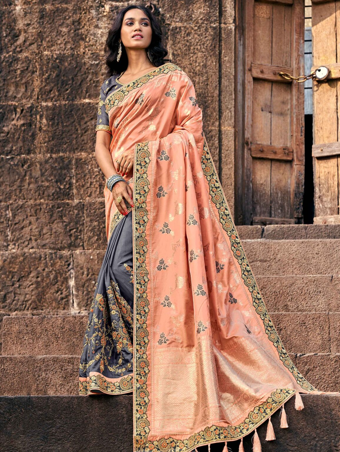 Light Peach and Green Banarasi Silk Embroidered Saree with Floral Jaal Woven Pallu