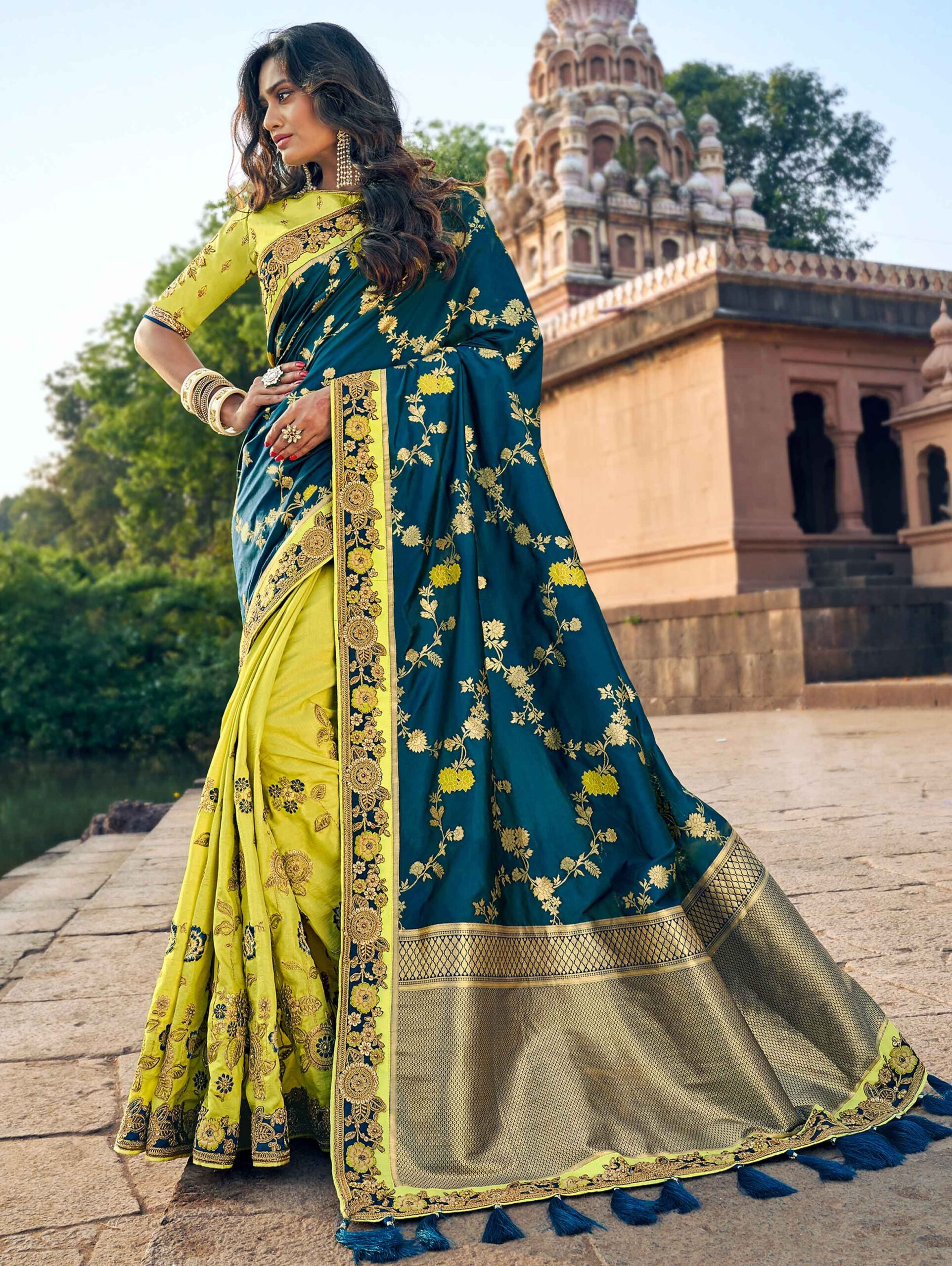 Peacock Blue and Light Green Banarasi Silk Traditional Saree with Floral Jaal Woven Pallu