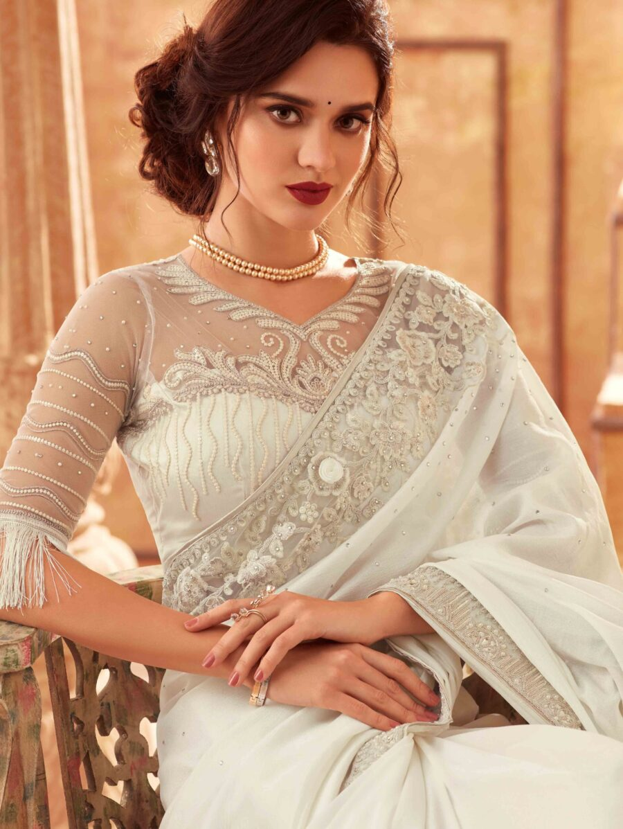 Pearl White Silk Fancy Saree with Fringes Lace Pallu and Designer Blouse