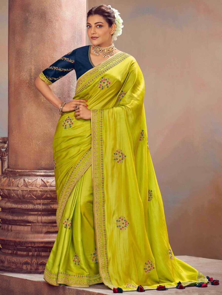 Kajal Aggarwal Lime Green Silk Designer Saree with Embroidered Butta and BorderK