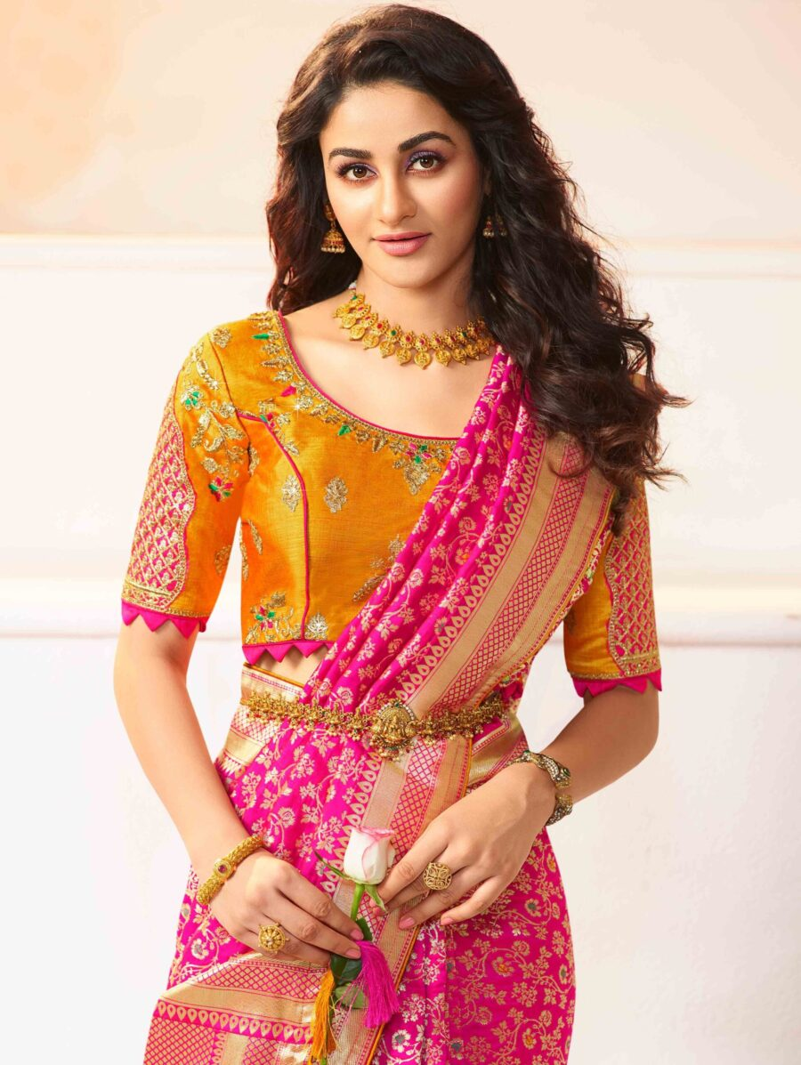 Magenta Pink Silk Traditional All Over Woven Saree