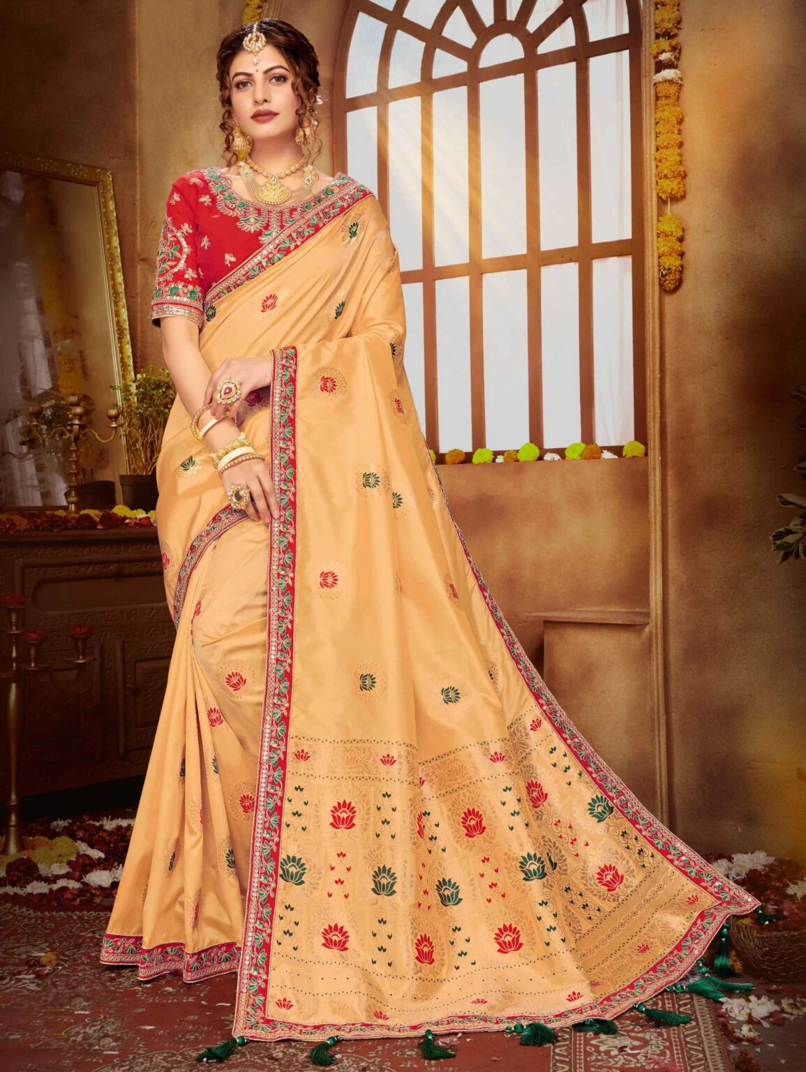 Beige Banarasi Silk Woven Saree with Contrast Embroidered Lace
