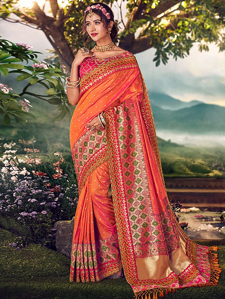 Dark Orange Banarasi Silk Traditional Woven Border Saree with Embroidered Lace