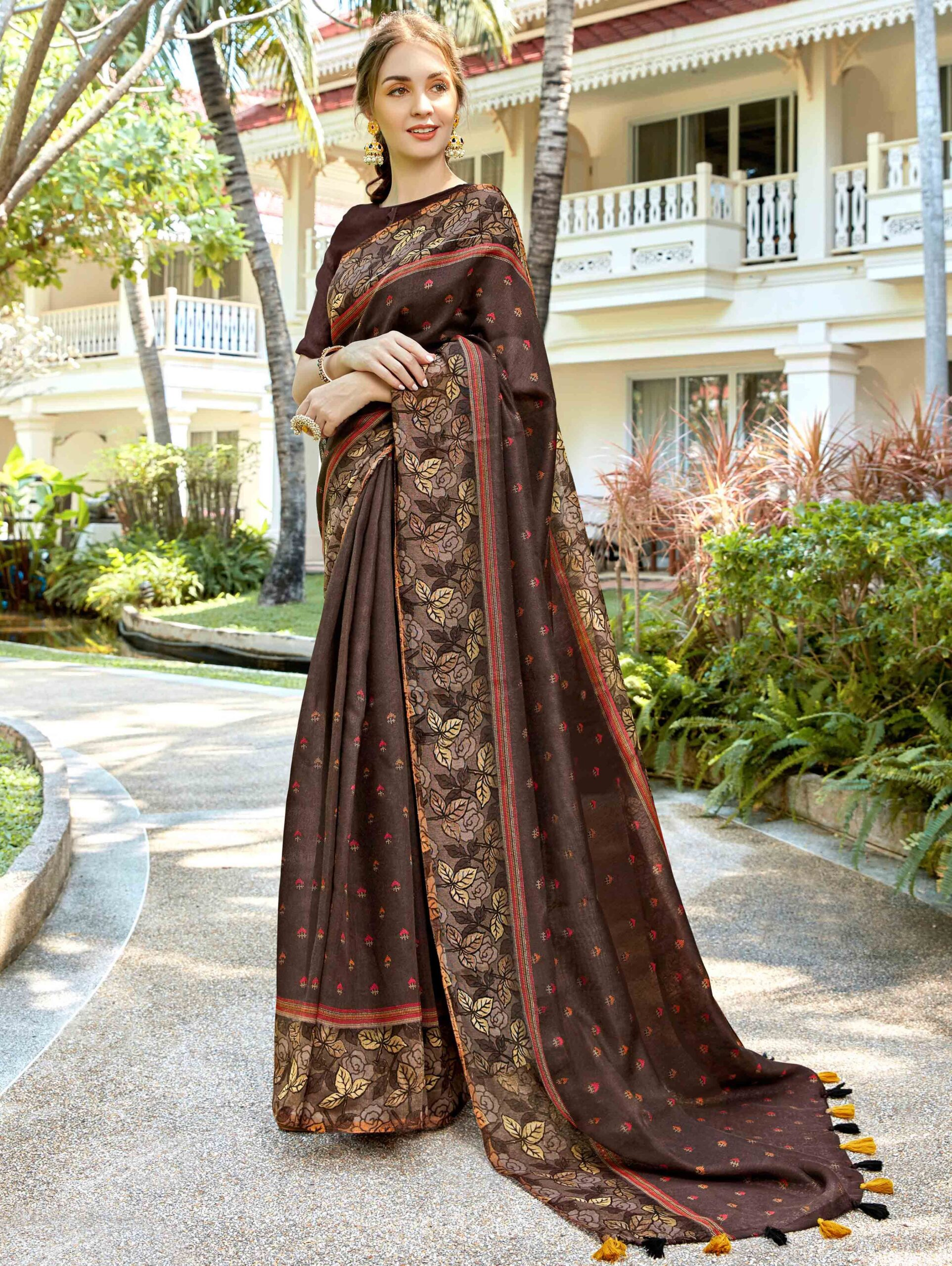 Brown Art Silk Printed Saree