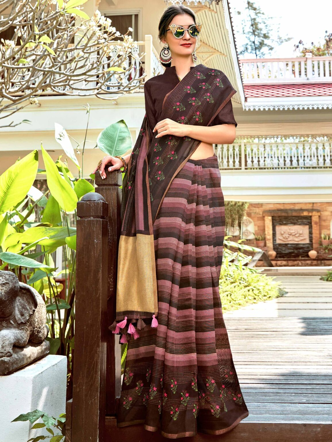 Brown Art Silk Saree with Floral Print