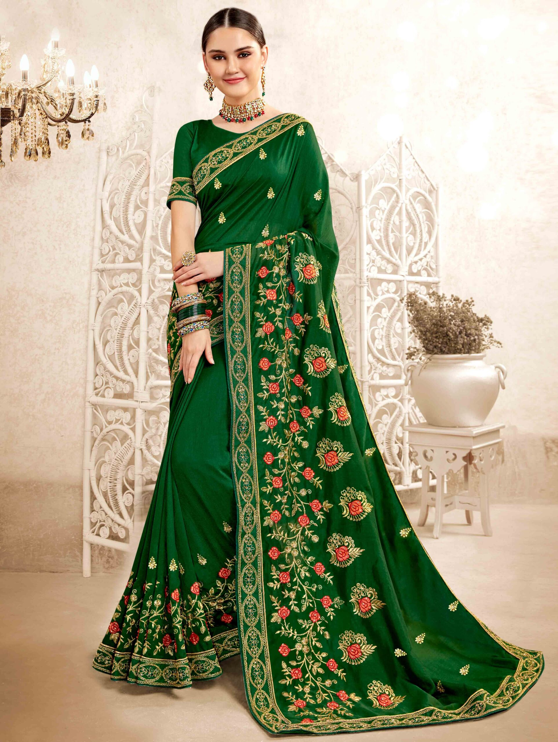 Bottle Green Art Silk Floral Embroidered Saree