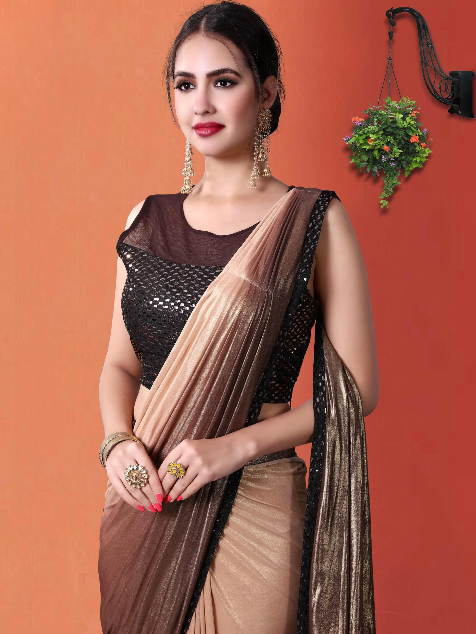 Brown Ombre Lycra Pre Stitched Fancy Saree with Lace