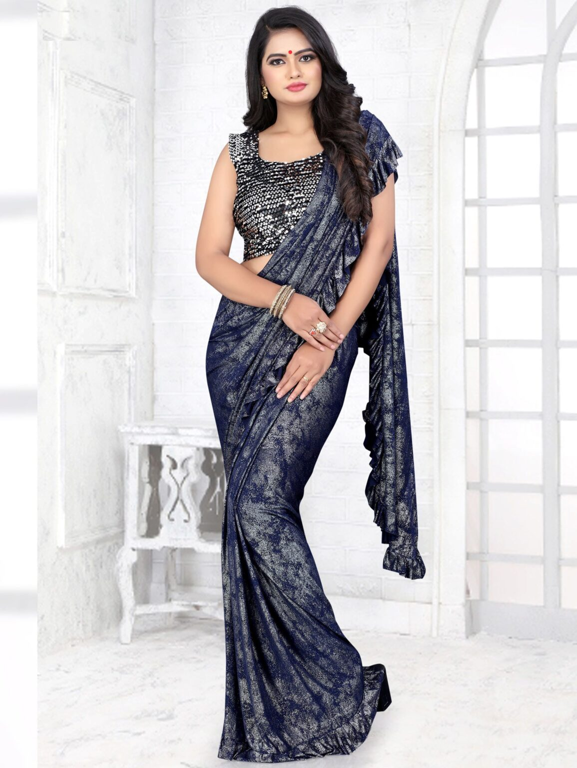 Blue Lycra Textured Fancy Ruffle Saree