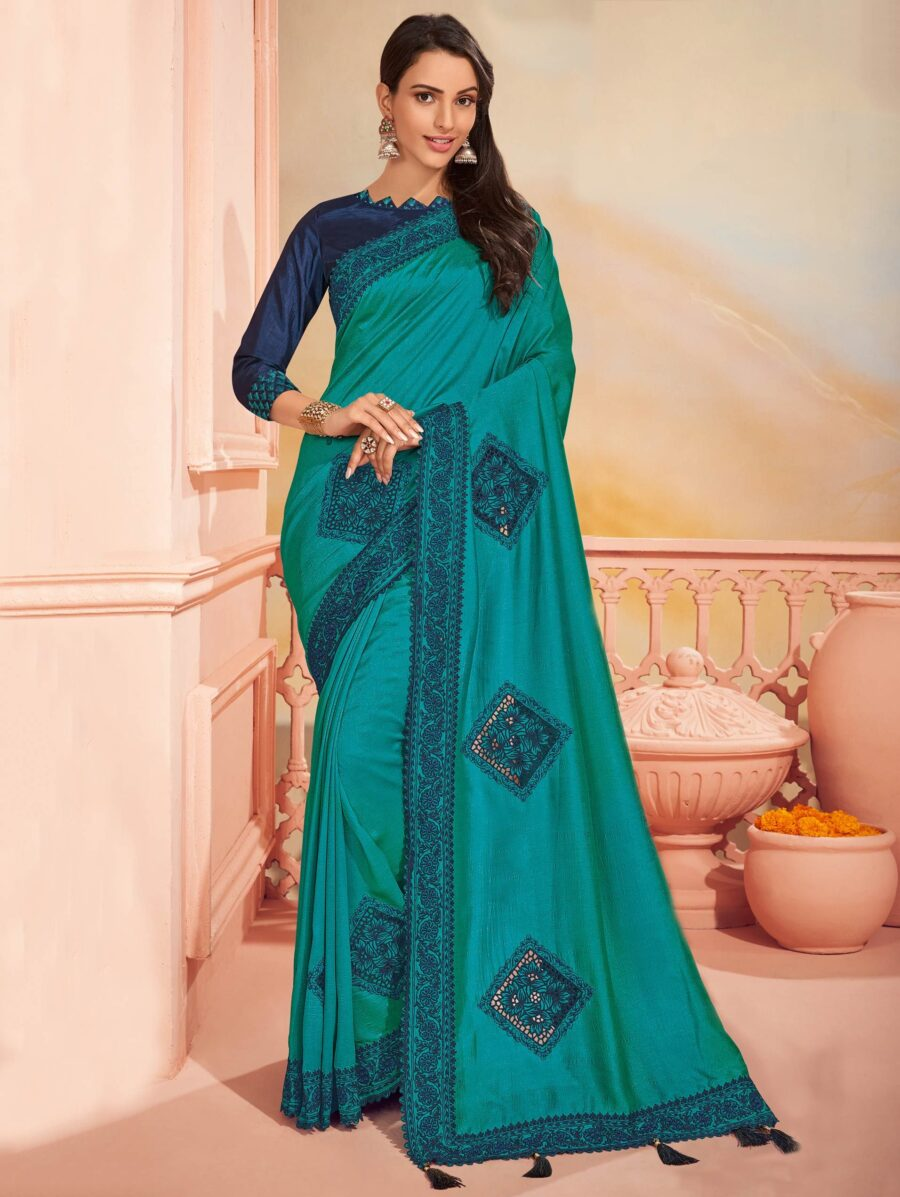 Teal Green Silk Saree with Embroidered Border