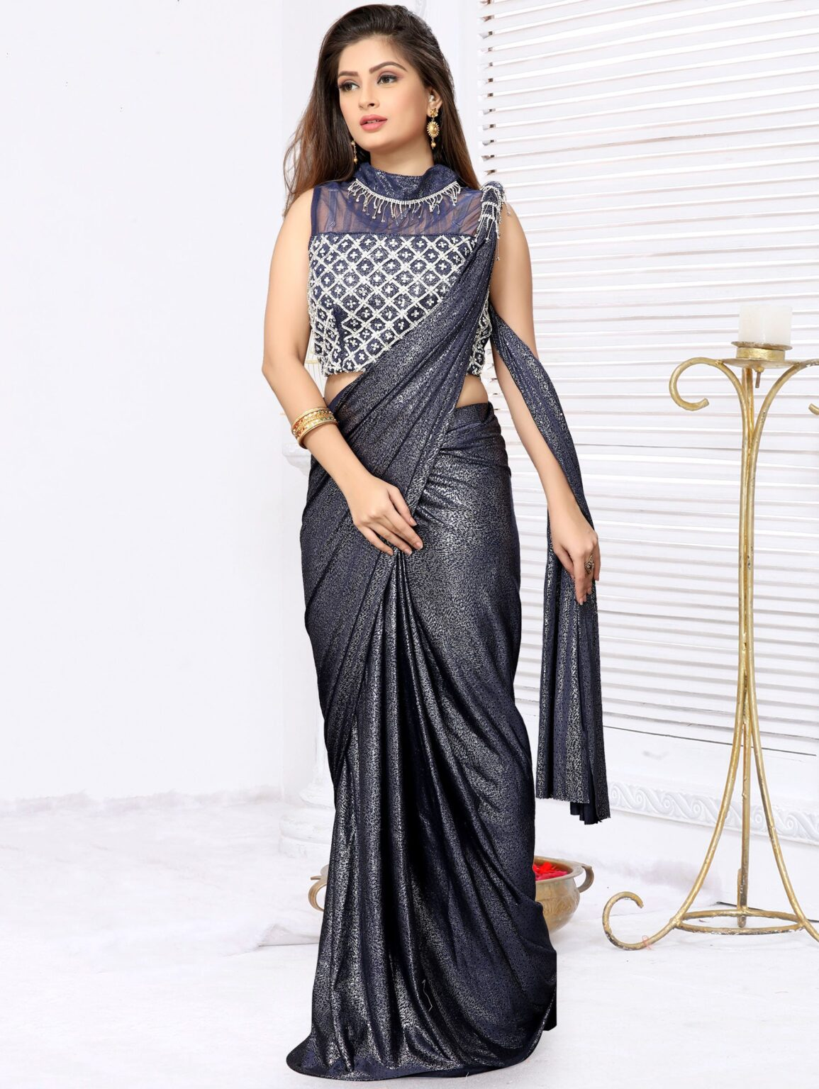 Blue Lycra Pre Stitched Fancy Saree with Designer Blouse