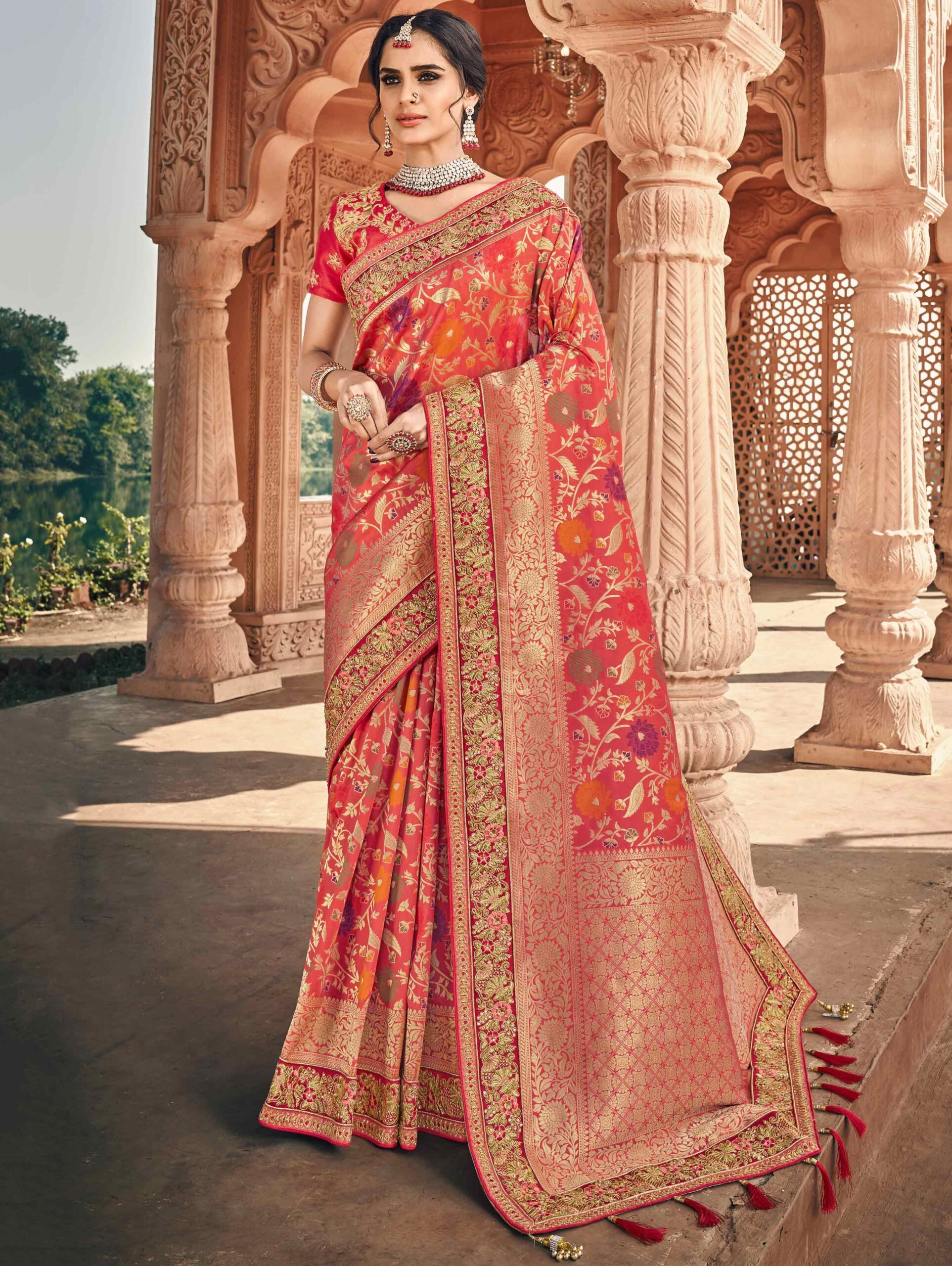 Coral Pink Banarasi Silk Floral Woven Saree with Embroidered Lace and Double Blouse