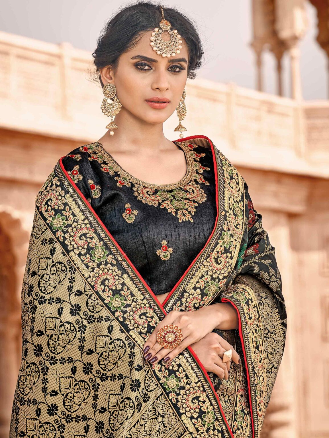 Black Banarasi Silk Traditional Floral Woven Saree with Double Blouse