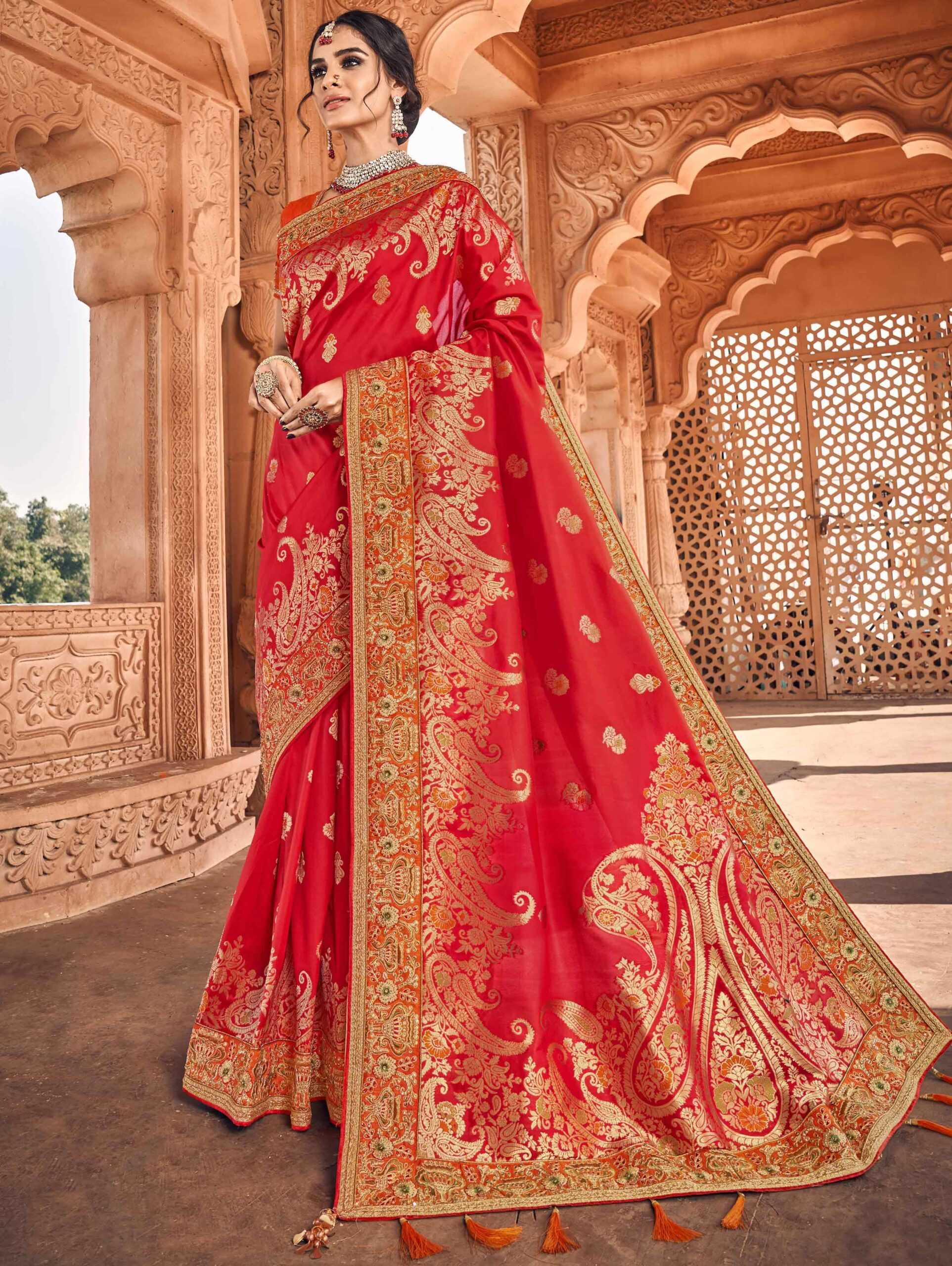 Red Banarasi Silk Traditional Woven Saree with Paisley Motif Border and Double Blouse