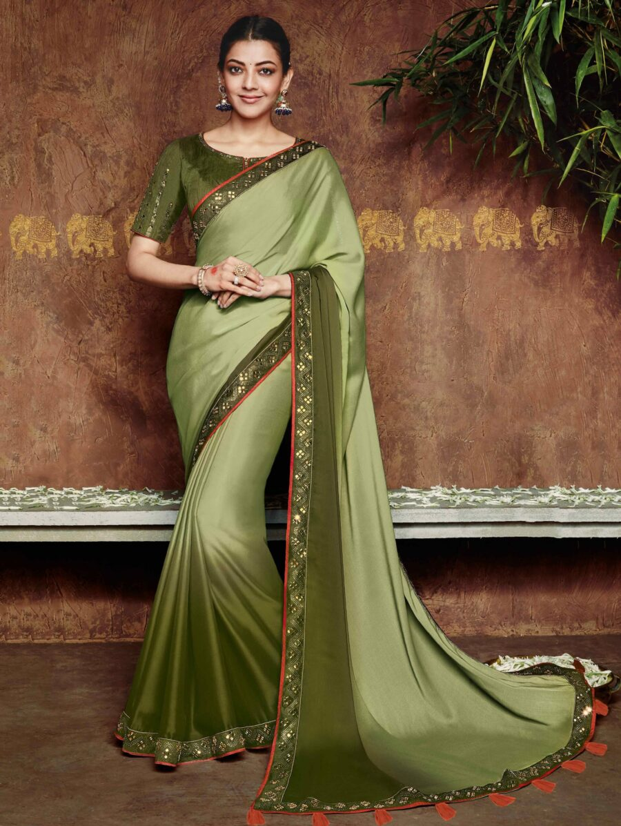 Kajal Aggarwal Green Ombre Silk Plain Saree with Lace