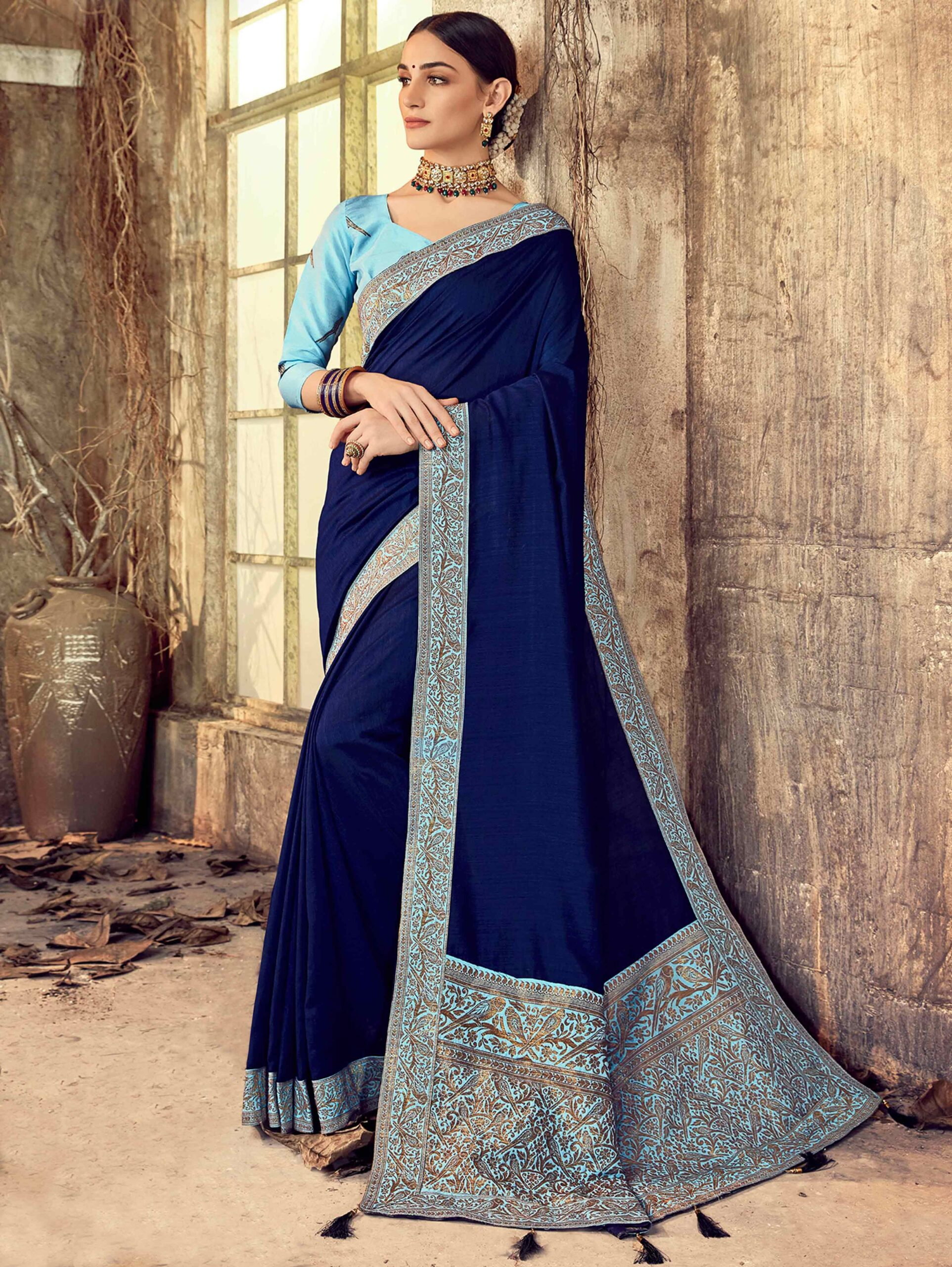 Blue Art Silk Saree with Parrot Motifs Woven Border
