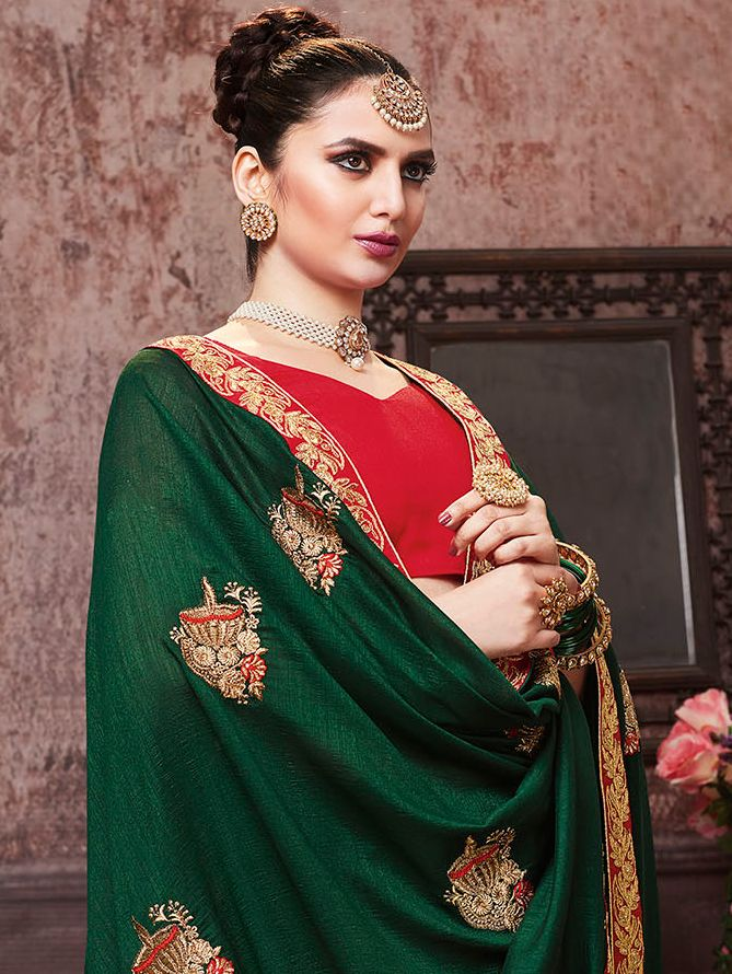 Dark Green Art Silk Embroidered Butta Saree with Contrast Lace