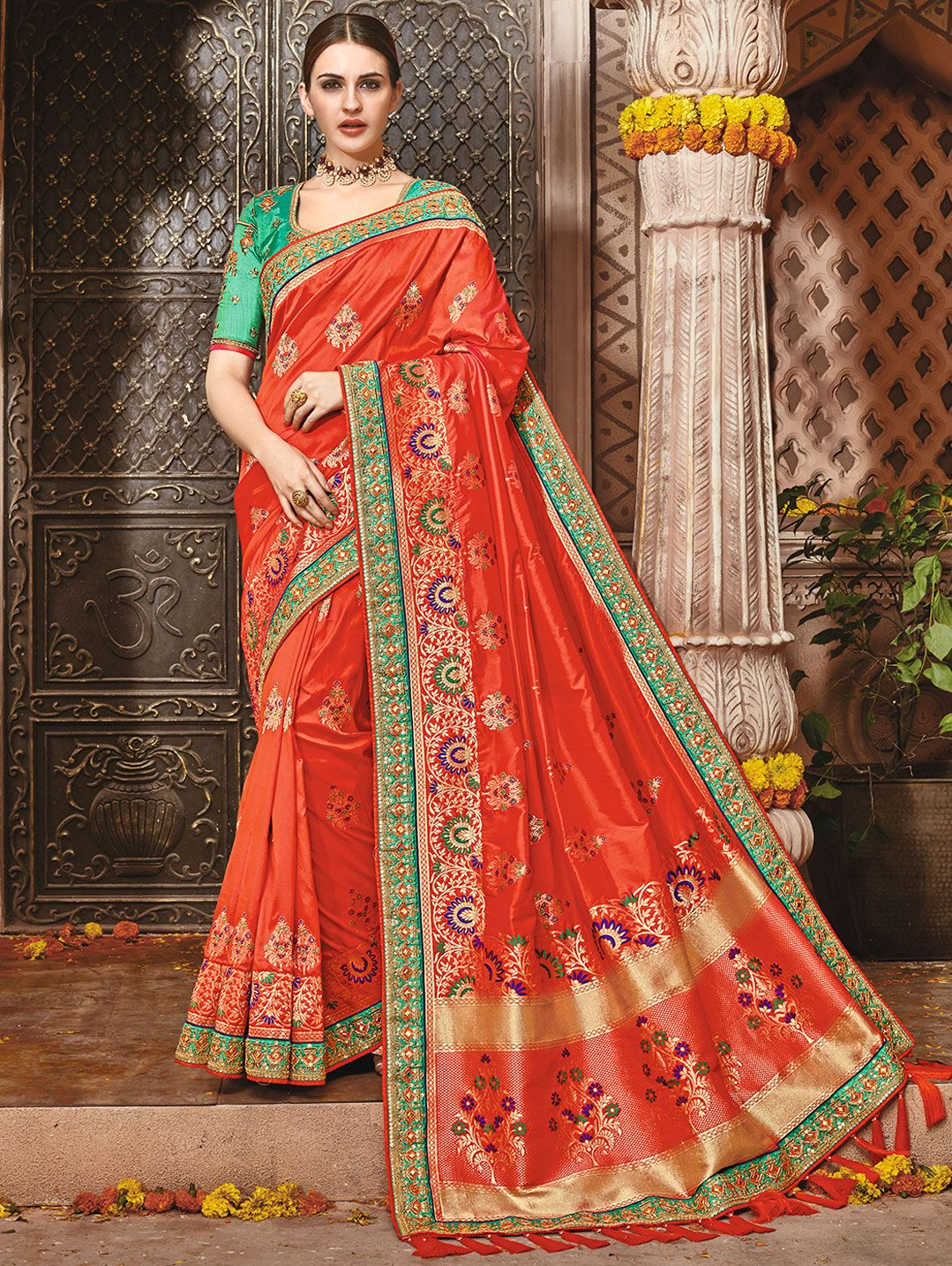 Red Banarasi Silk Traditional Woven Saree with Contrast Lace