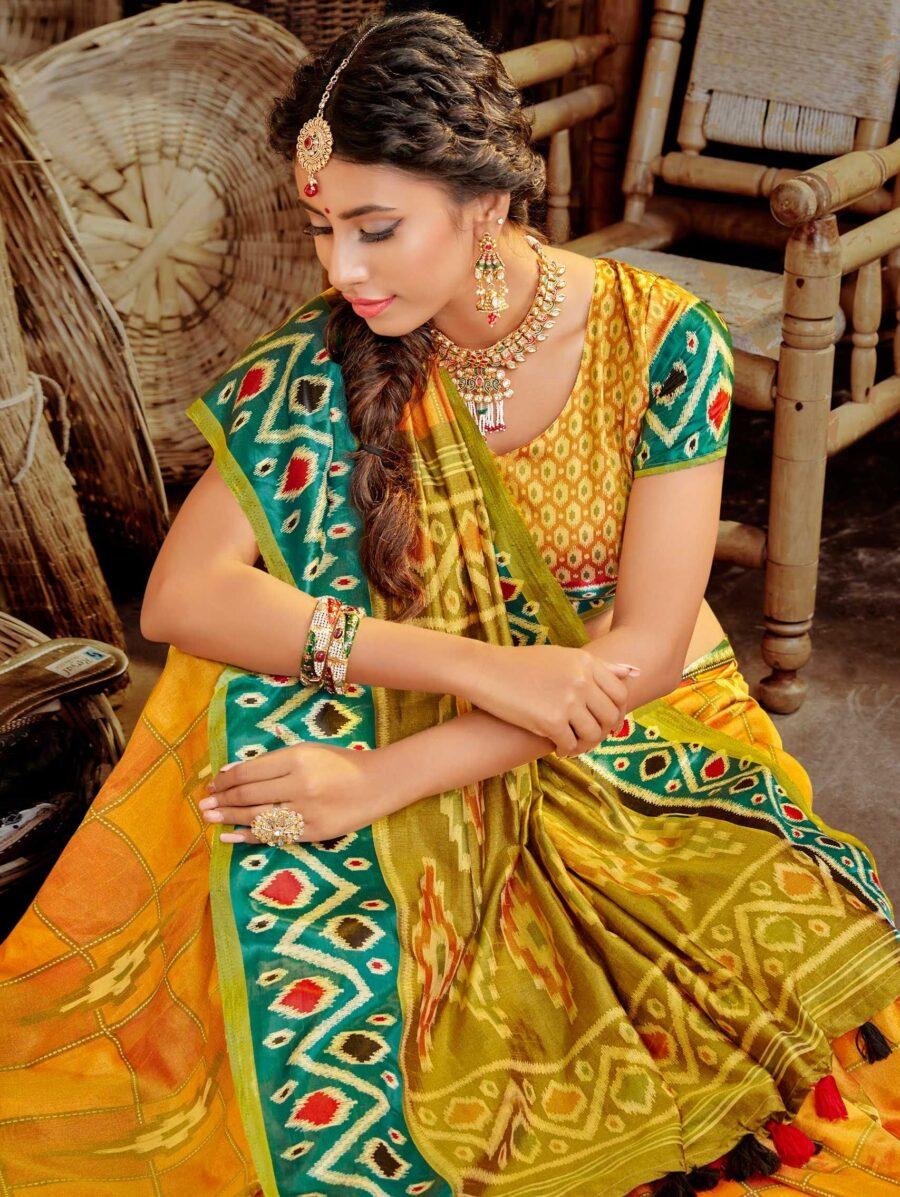 Yellow Silk Traditional Ikkat Printed Saree with Contrast Border