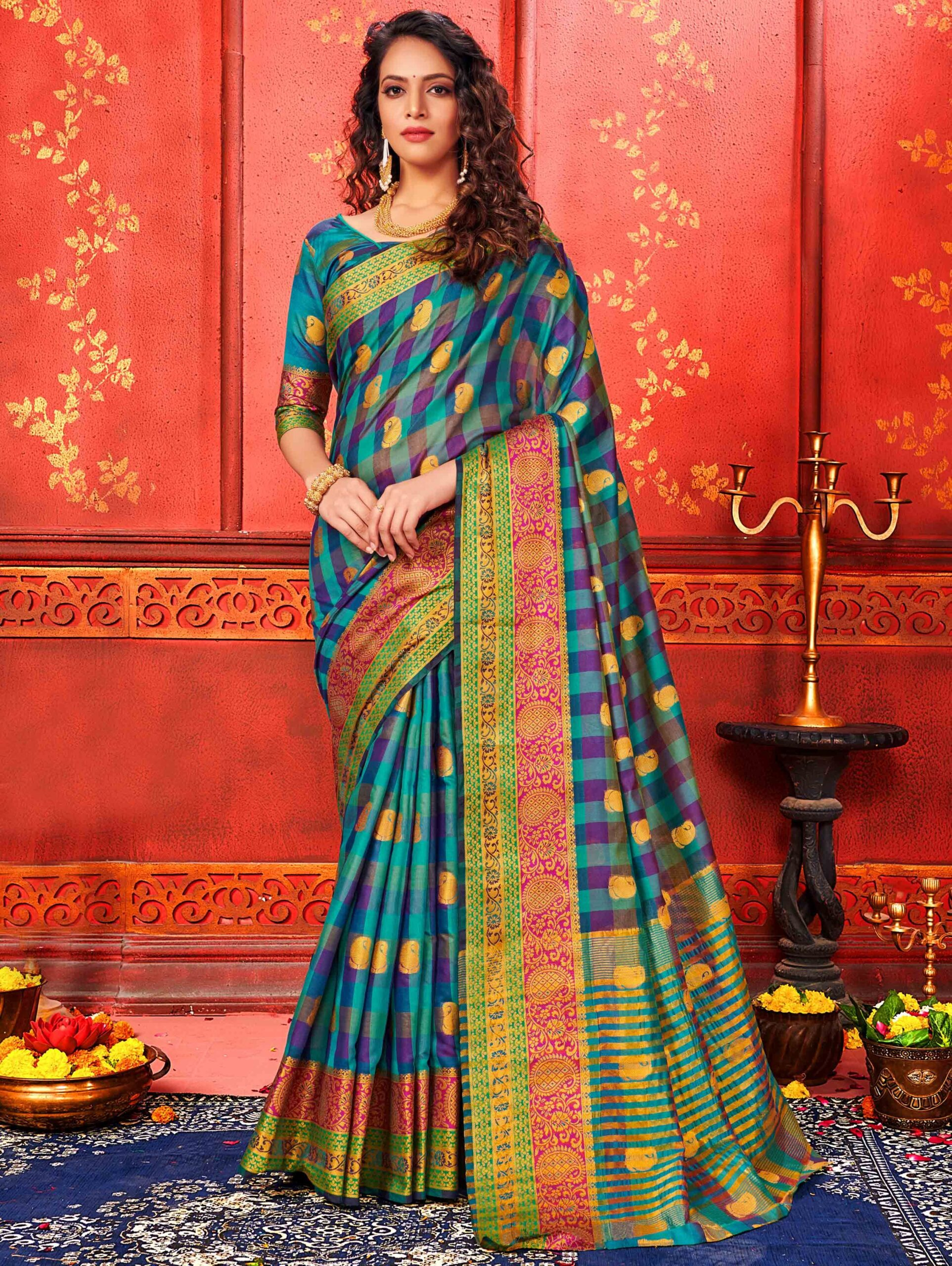 Blue Art Silk Checks Woven Saree