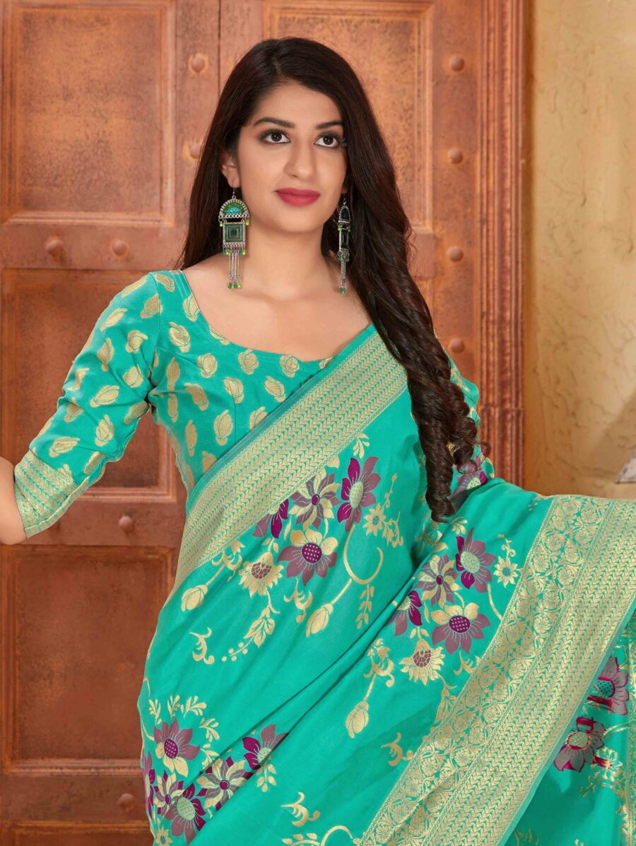 Turquoise Green Silk Traditional Floral Woven Saree with Zari Gold Border and Pallu