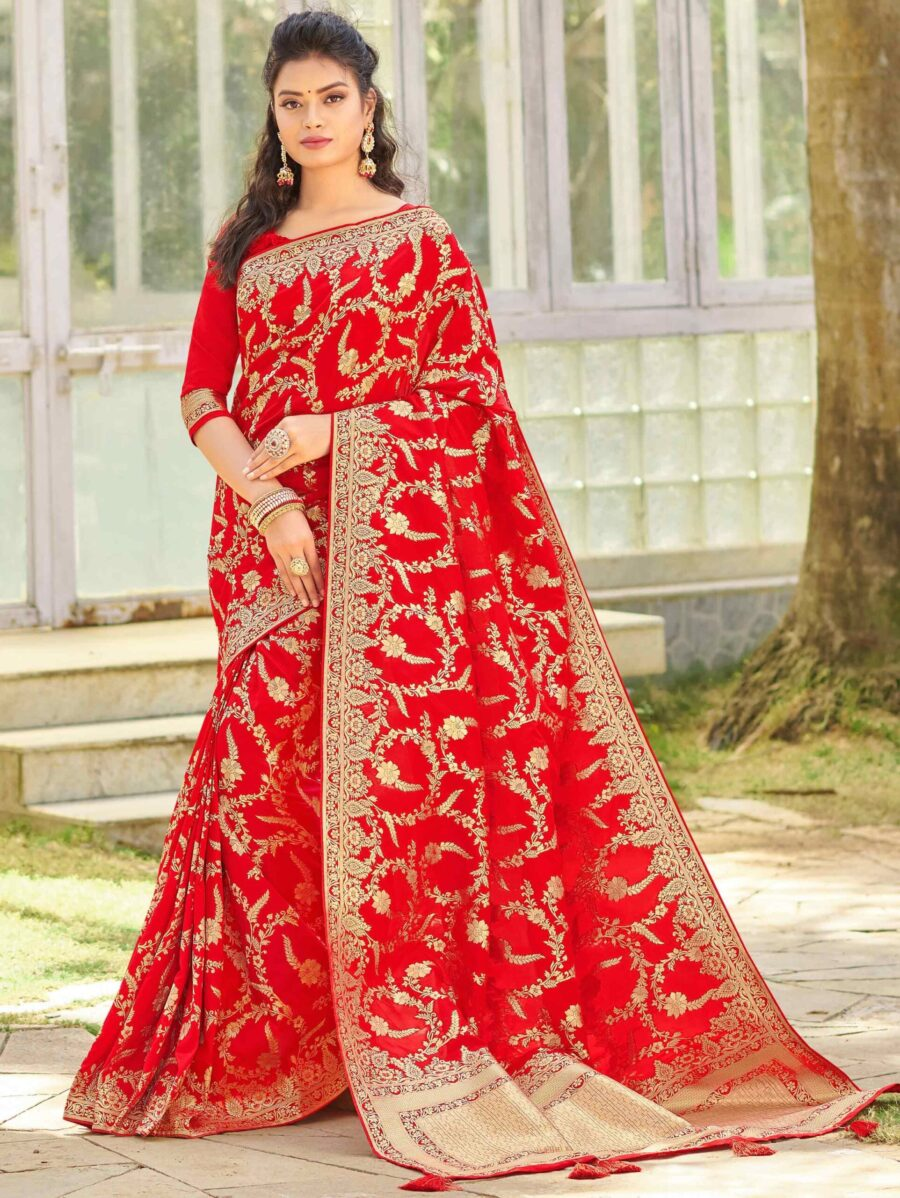 Red Silk Woven Saree with Floral Motifs