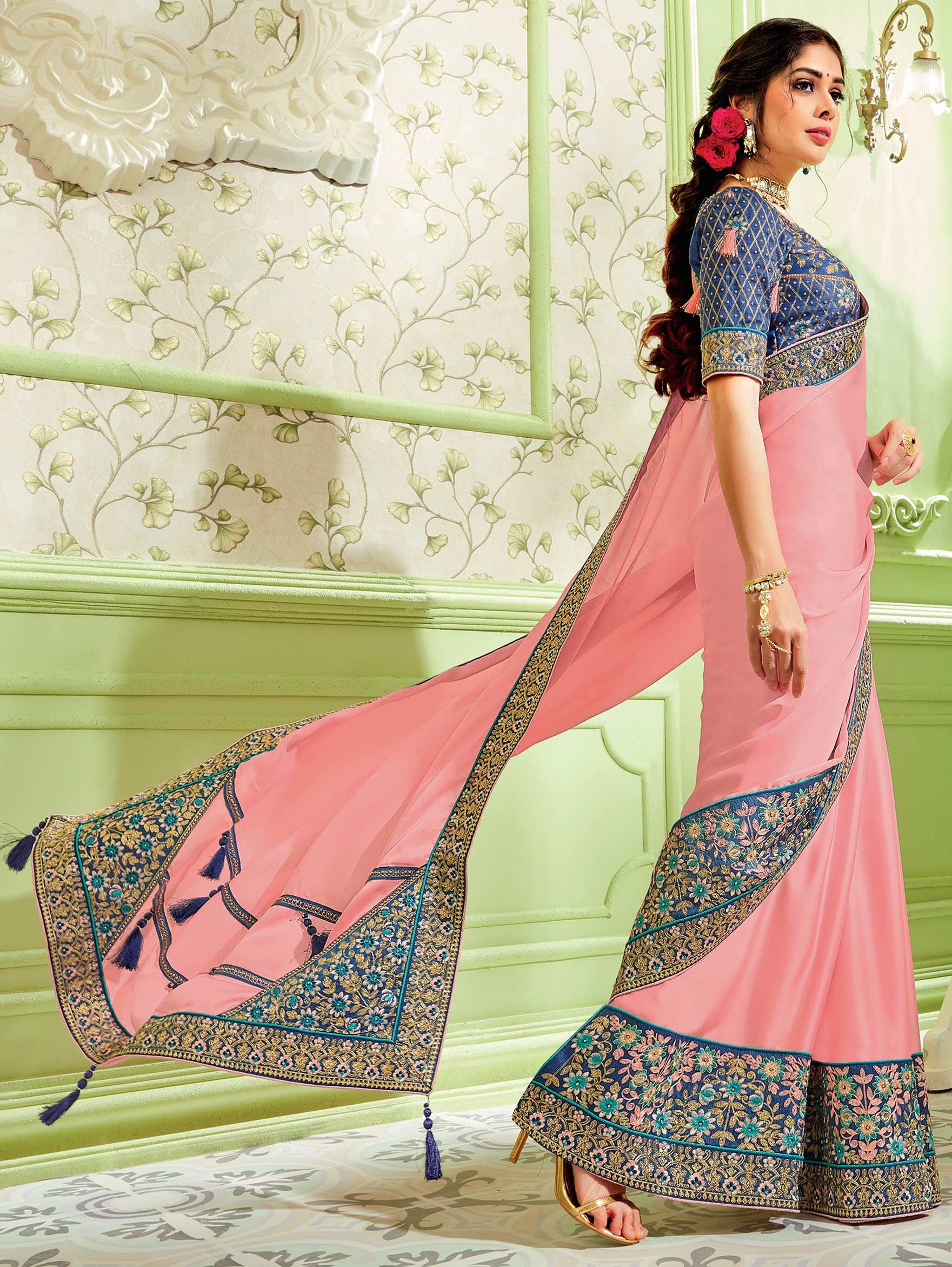 Light Pink Lycra Pre Stitched Floral Printed Saree with