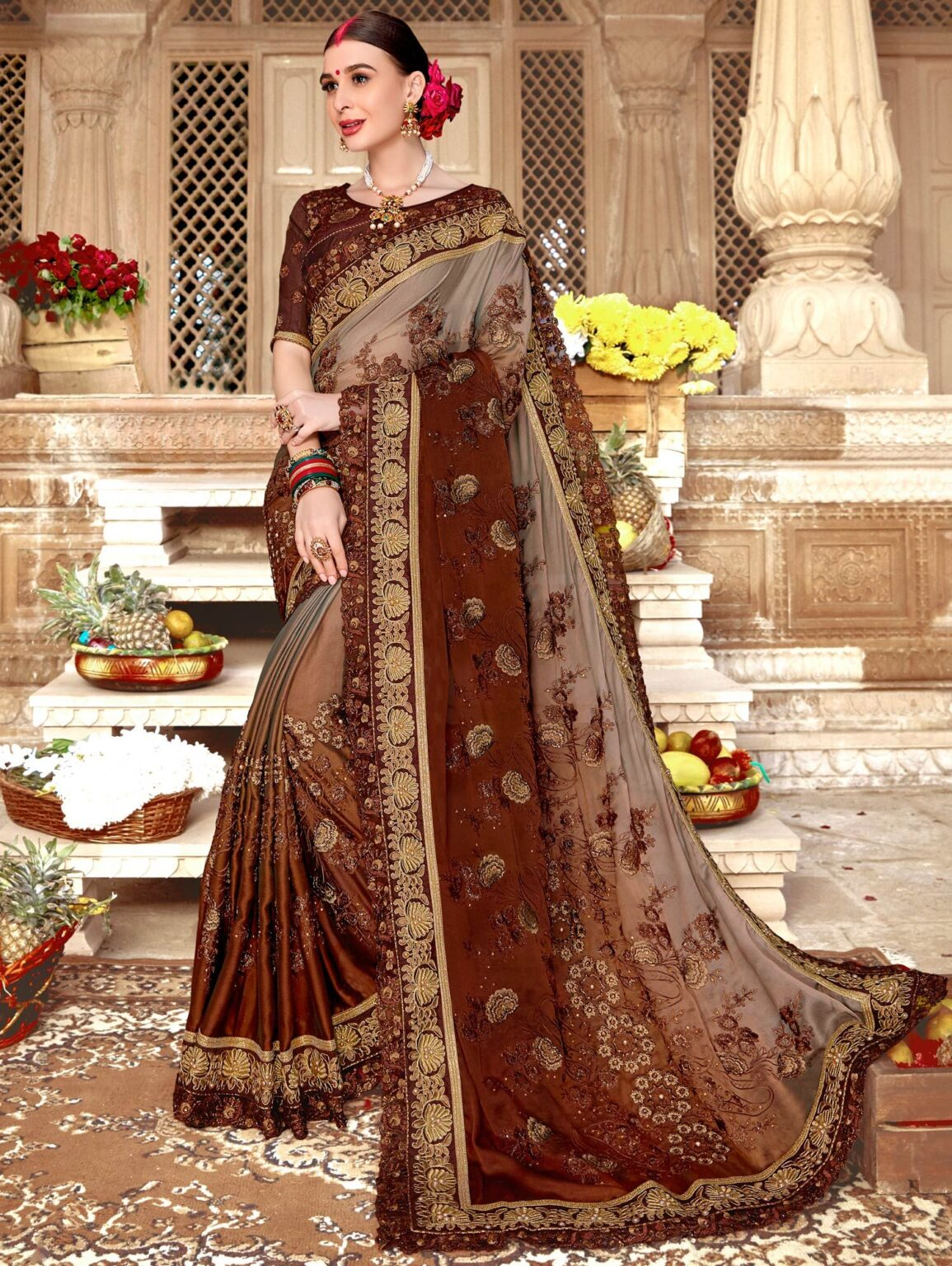 Brown Ombre Art Silk Saree with Heavy Floral Embroidery