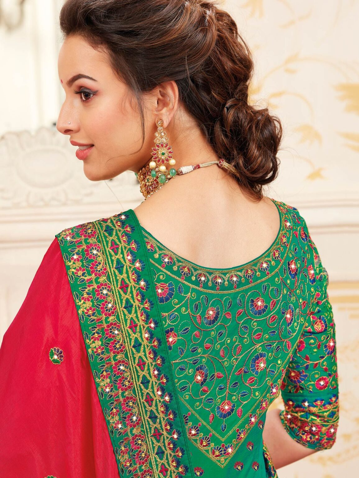 Red Silk Saree with Embroidered Border