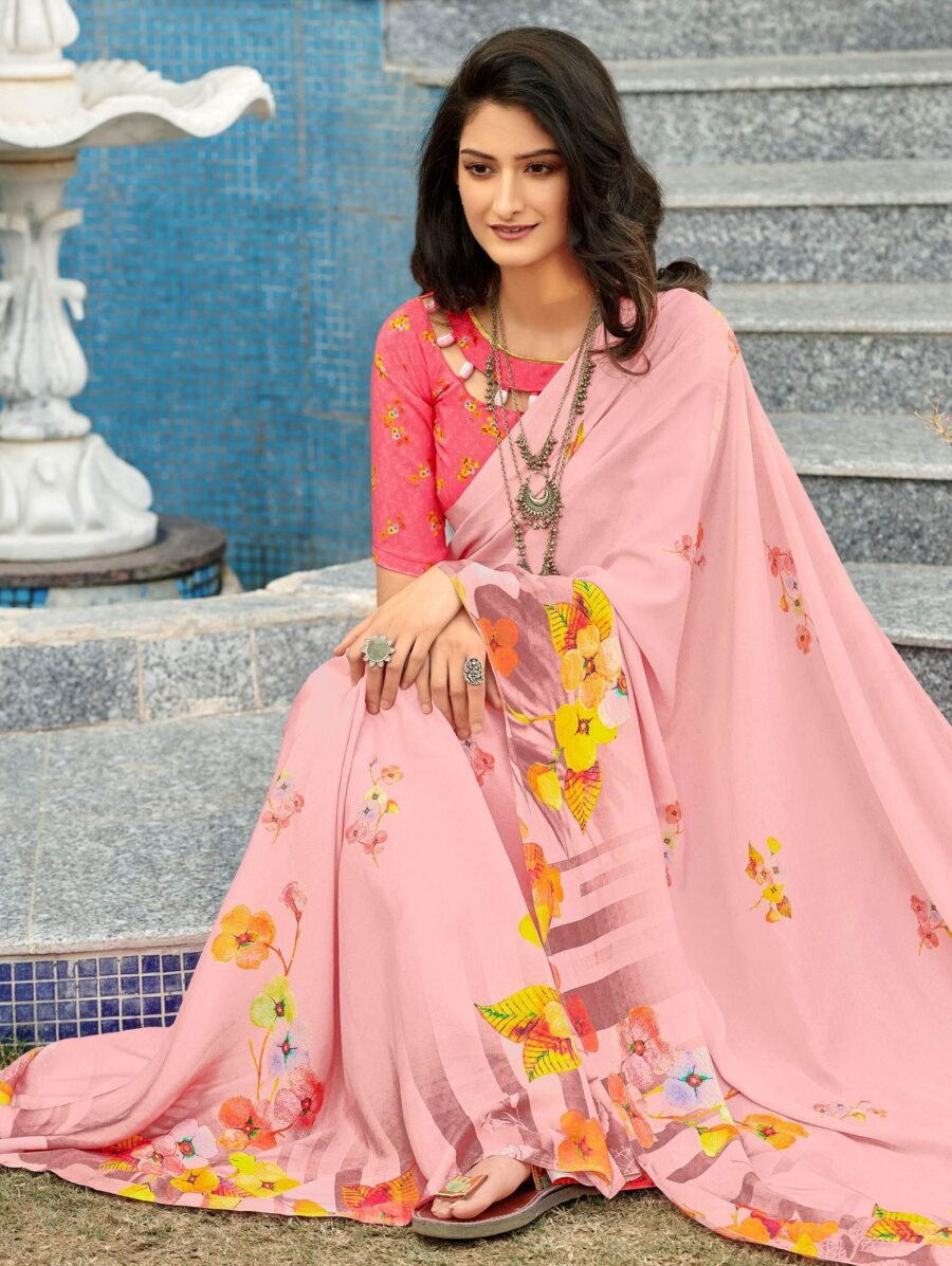 Baby Pink Crepe Silk Saree with Digital Floral Print