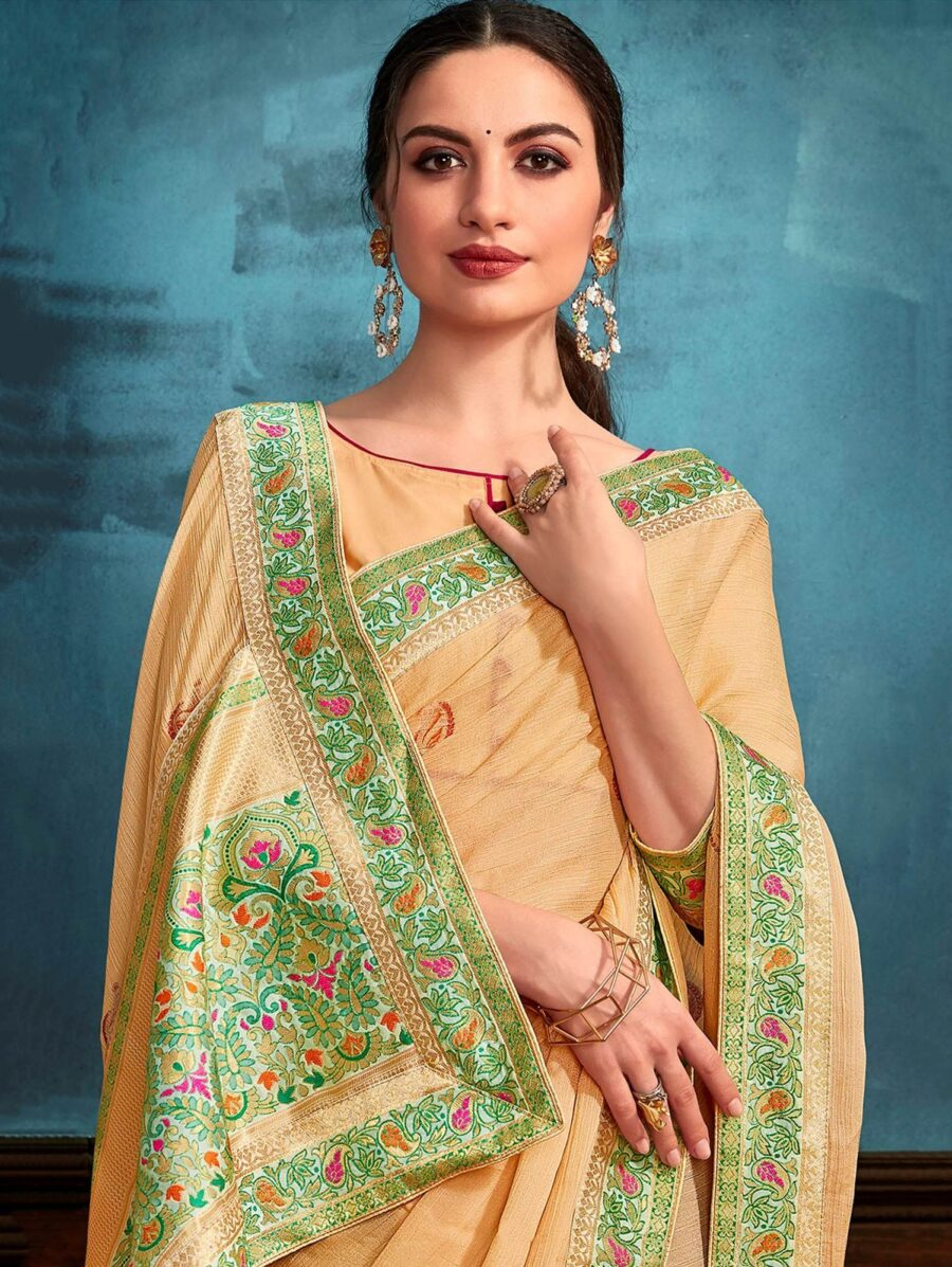 Beige Chiffon Saree with Contrast Woven Border and Pallu