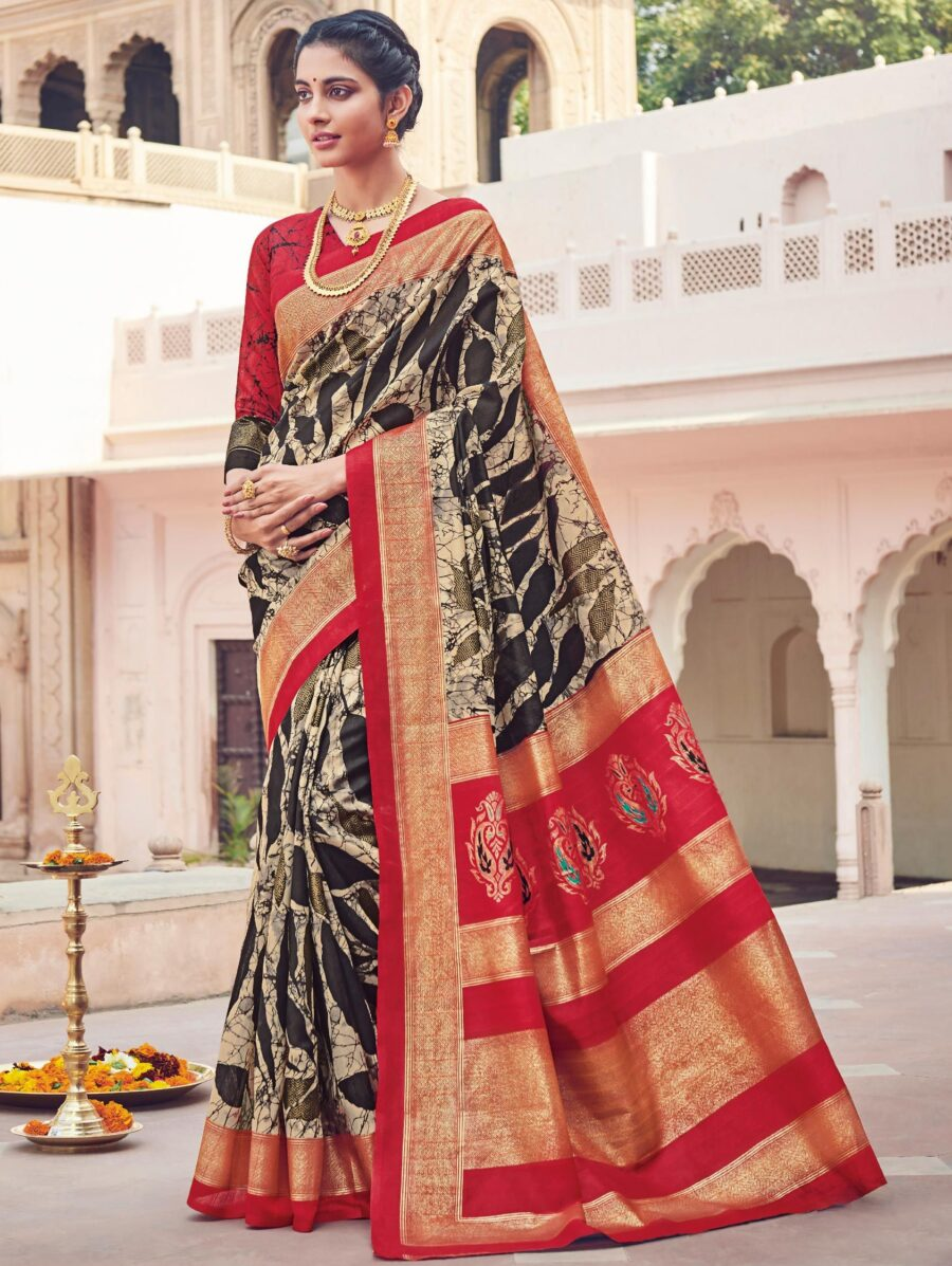 Black Cotton Silk Printed Saree with Woven Border and Pallu