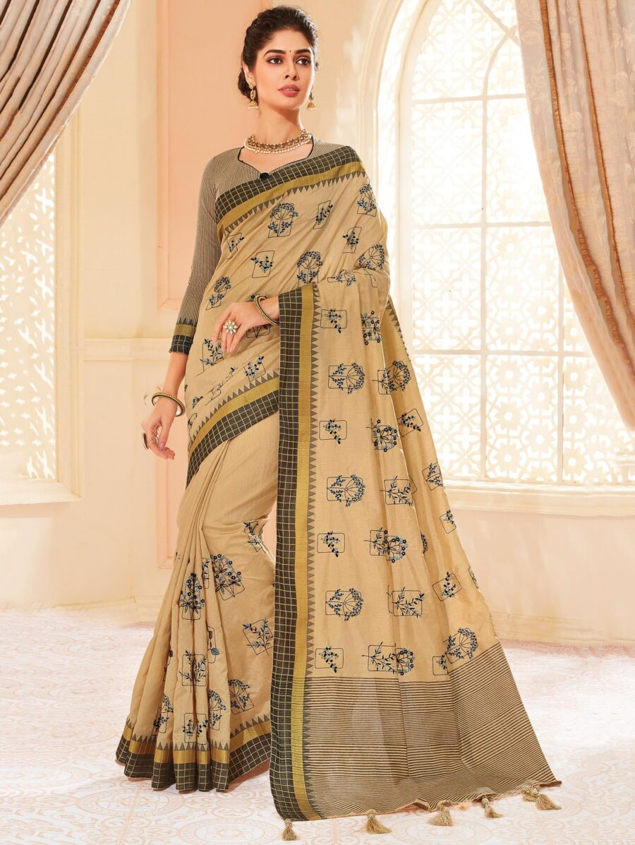 Beige Silk Embroidered Butta Saree with Black Checks Border and Stripes Print Pallu