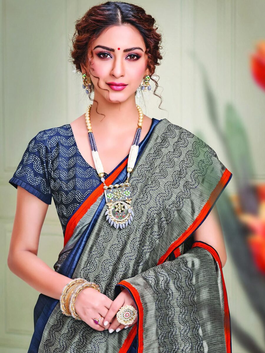 Blue and Grey Silk Saree with Thread Embroidery
