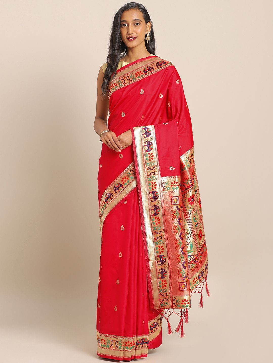 Red Banarasi Silk Traditional Woven Paithani Saree with Peacock and Elephant Motifs