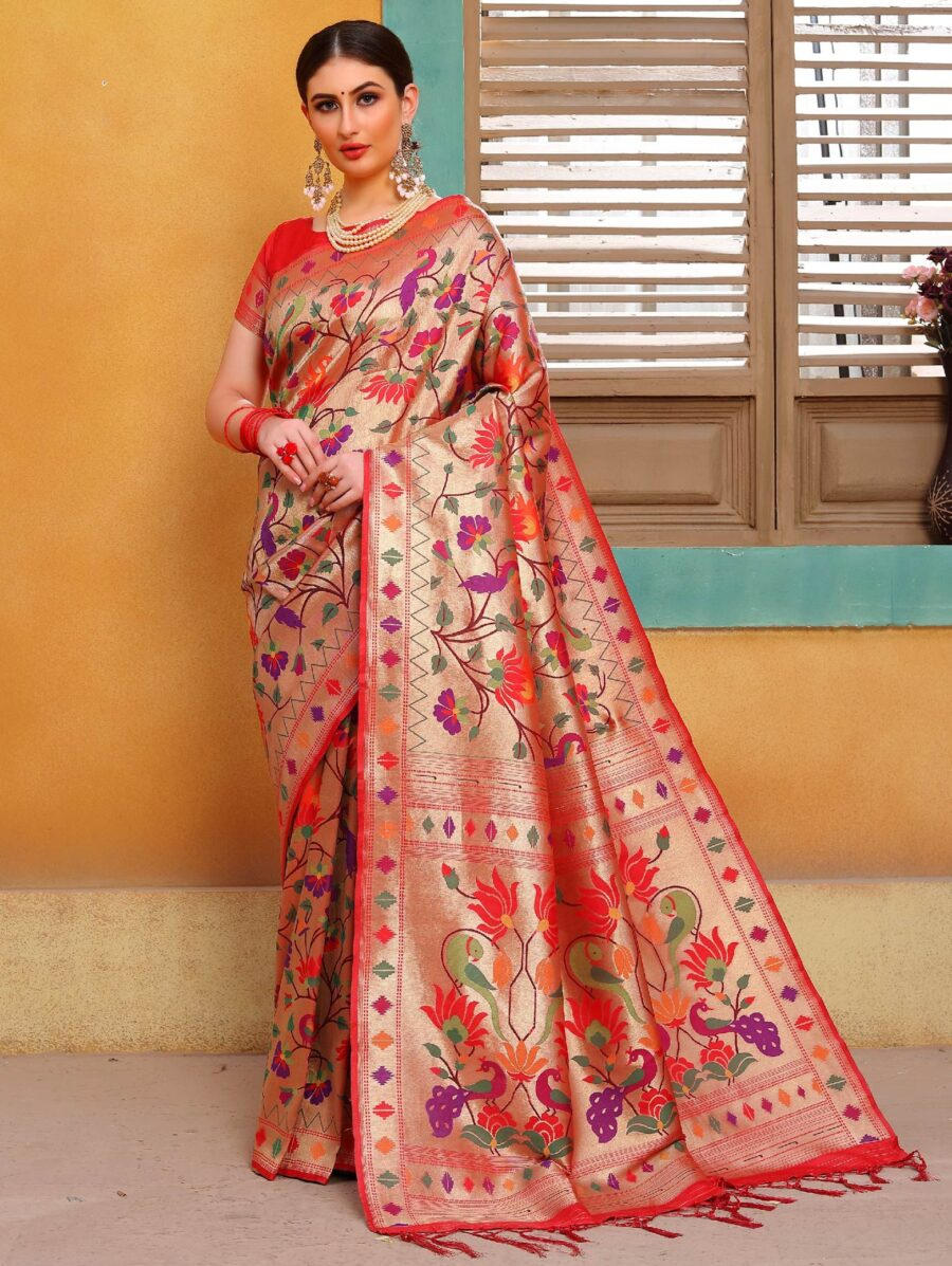 Golden Silk Traditional Multi Colored Floral Woven Saree with Bird Motif