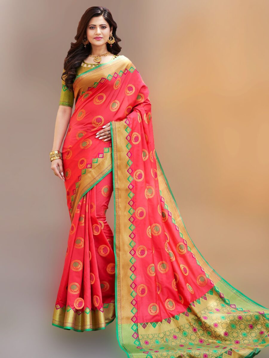 Coral Pink Banarasi Art Silk Woven Saree with Golden Border and Green Pallu