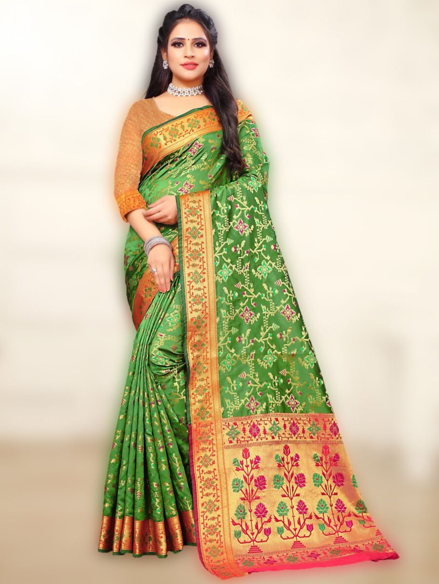 Green Silk All Over Woven Saree with Contrast Pallu