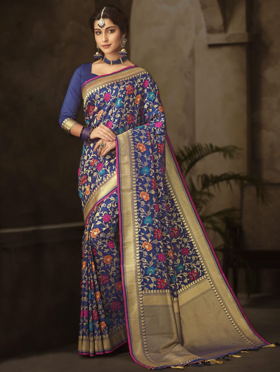 Blue Silk All Over Multi Colored Floral Woven Saree