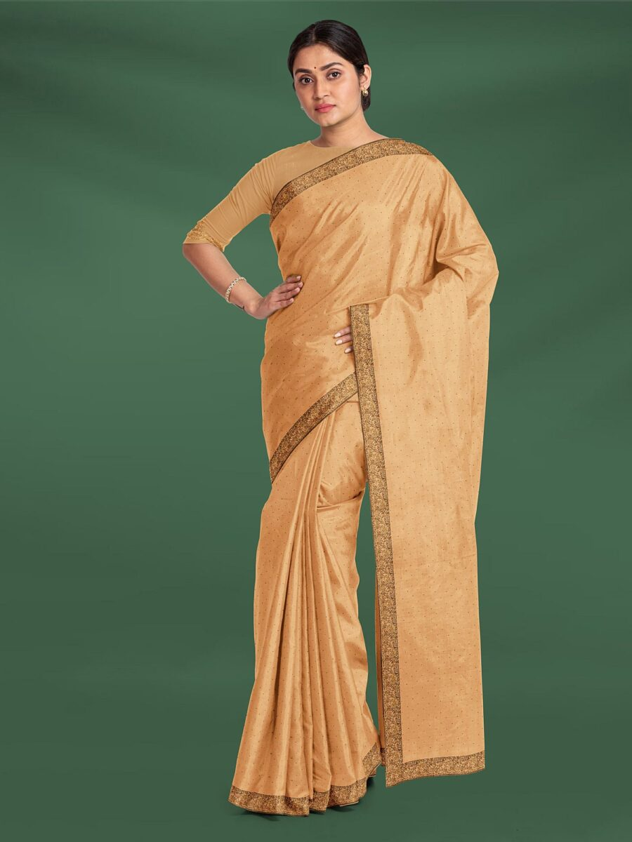 Beige Silk Designer Saree with Stone